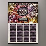 Cartoon colorful hand drawn doodles Designer 2018 year calendar. Template. English, Sunday start. Very detailed, with lots of objects illustration. Funny vector royalty free illustration