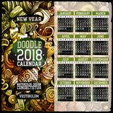 Cartoon colorful hand drawn doodles New Year 2018 year calendar template. English, Sunday start. Illustration with lots of elements. All objects are separated Royalty Free Stock Photo