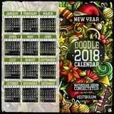 Cartoon colorful hand drawn doodles New Year 2018 year calendar template. English, Sunday start. Illustration with lots of elements. All objects are separated Stock Photography