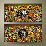 Cartoon  picnic doodle vertical banners Stock Photography