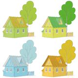Cartoon colorful houses and trees Royalty Free Stock Image