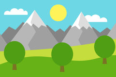 Cartoon colorful  illustration of a mountain landscape with a field and trees under a blue sky with clouds. And sun Stock Photography