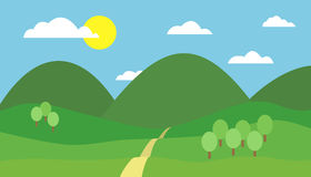Cartoon colorful  illustration of mountain landscape with hill, path and trees under blue sky with clouds and sun Stock Photography