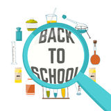 Cartoon colorful illustration with objects and equipment to explore science and the magnifying glass back to school. Vector Royalty Free Stock Images