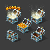 Cartoon colorful isometric chest set with bonus. Vector illustration Stock Image