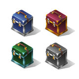 Cartoon colorful isometric metallic box. Stock Image