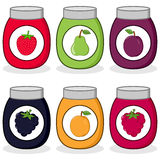 Cartoon Colorful Jam Jars Collection Stock Photo