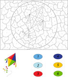 Cartoon colorful kite. Color by number educational game for kids Stock Photos