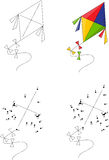 Cartoon Colorful Kite. Coloring Book And Dot To Dot Game For Kid Stock Photography