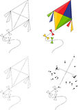 Cartoon colorful kite. Dot to dot game for kids Royalty Free Stock Photography