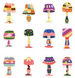 Cartoon colorful lamp icon. Vector drawing Stock Photo