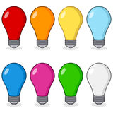Cartoon Colorful Light Bulbs Collection Royalty Free Stock Image