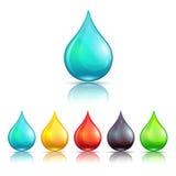 Cartoon colorful liquid drops set Stock Images