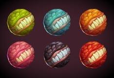 Cartoon colorful monster planet set. stock illustration