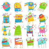 Cartoon colorful Monsters for Kids Big Collection. Funny iimaginary monsters design elements clip art on white. EPS10 vector has no background color Stock Image