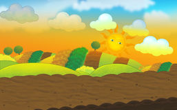 Cartoon colorful  nature scene Stock Image