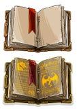 Cartoon colorful open magic spell books set. Cartoon colorful old open magic spell books with dragons, strange symbols and bookmark. Isolated on white background royalty free illustration