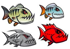 Cartoon colorful pirhana fish characters Royalty Free Stock Images