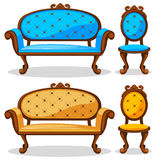 Cartoon colorful Retro chair and sofa royalty free illustration