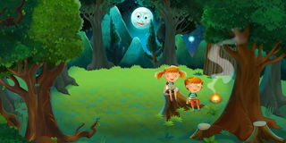 Cartoon colorful scene of forest by night with boy and girl by the fire. Happy and funny traditional scene for different usage - for different fary tales Stock Image