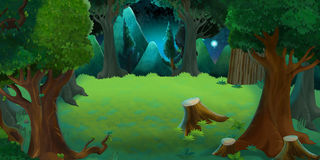 Cartoon colorful scene of forest by night royalty free illustration