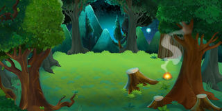 Cartoon colorful scene of forest by night Royalty Free Stock Photo