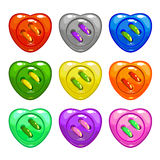 Cartoon colorful sewing buttons set Stock Image