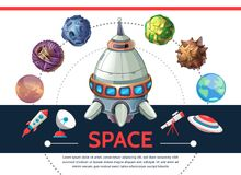 Cartoon Colorful Space Template Stock Images
