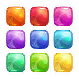 Cartoon colorful square glossy buttons set. Royalty Free Stock Images
