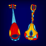 Cartoon colorful stringed musical instruments, vector Royalty Free Stock Images