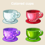Cartoon colorful tea and coffee cups. Royalty Free Stock Images