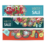 Cartoon colorful vector Doodle banners on subject of Winter sale Stock Photo