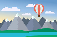Cartoon colorful vector illustration of mountain landscape with lake and hill under blue sky with clouds and hot-air balloon Royalty Free Stock Photo