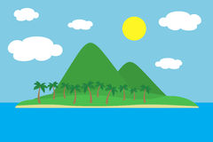 Cartoon colorful view of tropical island with beach under hills, mountains and palms in the middle of blue sea under clear sky wit Stock Photo