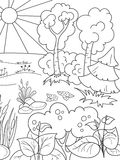 Cartoon coloring book black and white Nature. Glade in the forest with plants. Raster illustration vector illustration