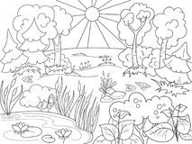 Cartoon coloring book black and white Nature. Glade in the forest with plants. Raster illustration stock illustration