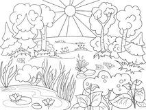 Cartoon coloring book black and white Nature. Glade in the forest with plants. Royalty Free Stock Image