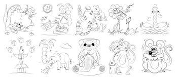 Cartoon coloring book. Funny cartoon coloring book llustration royalty free illustration