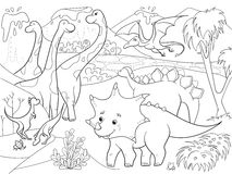 Cartoon Coloring for children dinosaurs in nature. Black and white vector illustration Stock Photography