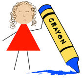 Cartoon coloring with crayon. Stick figure teacher holding up wax crayon - vector Royalty Free Stock Photos