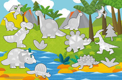 Cartoon coloring game with dinosaurs Royalty Free Stock Images