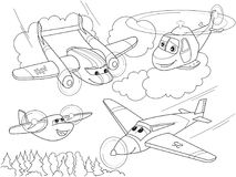 Cartoon coloring helicopters and planes with faces. Live transport. Stock Images