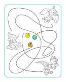 Cartoon coloring maze Stock Photography