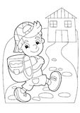 Cartoon coloring page - boy going to school or getting back to home. Beautiful colorful illustration caricature for the children for different usage Royalty Free Stock Image