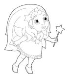 Cartoon coloring page of a fairy flying holding wand Stock Photos