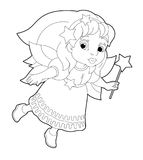Cartoon coloring page of a fairy flying holding wand Royalty Free Stock Images