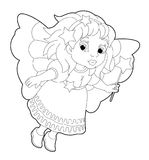 Cartoon coloring page of a fairy flying holding wand Royalty Free Stock Photos