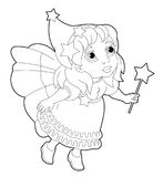 Cartoon coloring page of a fairy flying holding wand Stock Photo