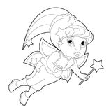 Cartoon coloring page of a fairy flying holding wand Royalty Free Stock Image