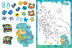 Cartoon coloring page with stickers - mermaid - isolated Stock Photography